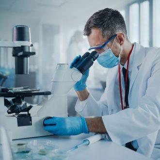 scientist analysing a drug sample
